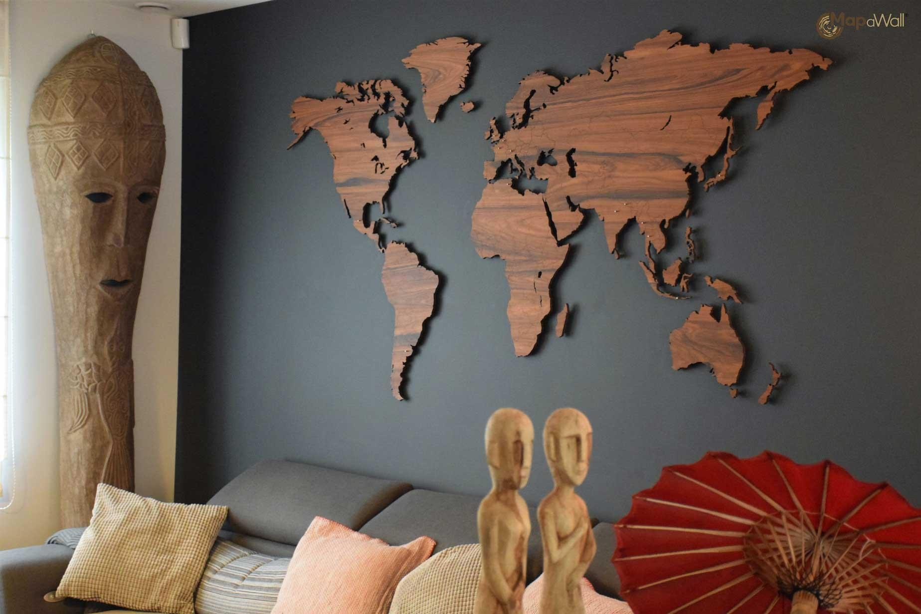 Mapawall Wooden World Map Palisander With Country Borders Pertaining To Wooden World Map Wall Art (Image 9 of 20)