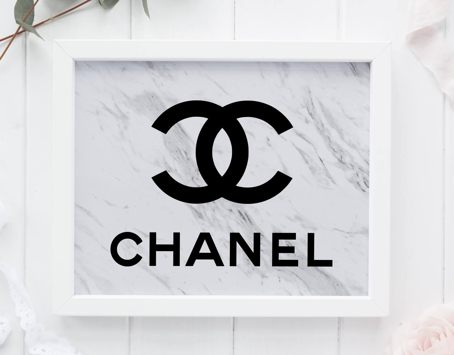 Marble Coco Chanel Tumblr Room Decor Chanel Wall Art Marble Pertaining To Chanel Wall Decor (Image 17 of 20)