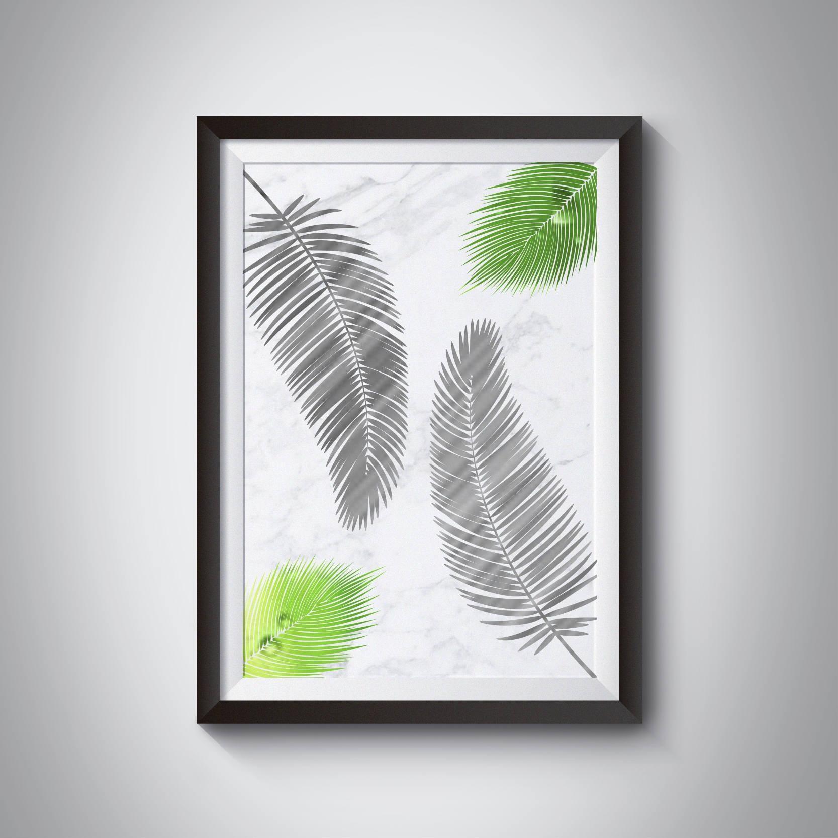 Marble Print Palm Leaf Print Tropical Leaf Wall Art Palm Within Palm Leaf Wall Art (Image 9 of 20)