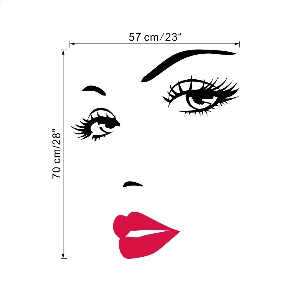 Marilyn Monroe Face Eyes Sexy Red Lip Home Decor Wall Sticker For Marilyn Monroe Wall Art (View 17 of 20)