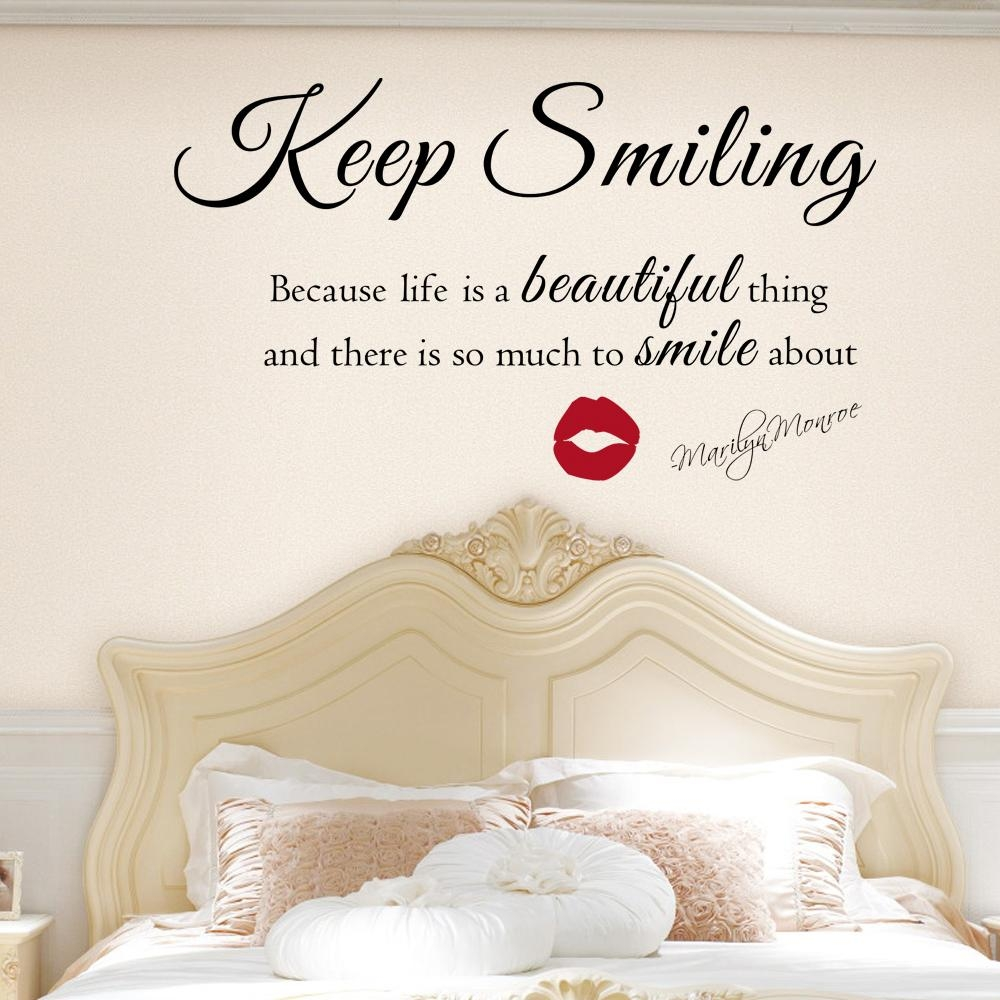 Marilyn Monroe Wall Decal Keep Smiling Wall Stickers Beautiful Throughout Marilyn Monroe Wall Art Quotes (View 15 of 20)