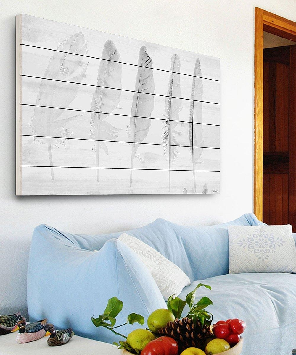 Marmont Hill Five White Feathers White Wood Wall Art | Zulily In White Wooden Wall Art (Image 12 of 20)