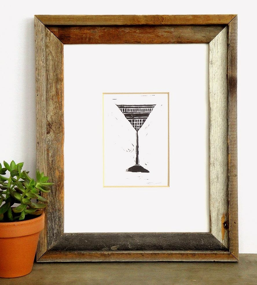 Martini Glass Linocut Art Print | Art Prints & Posters | Printwork Intended For Martini Glass Wall Art (View 18 of 20)