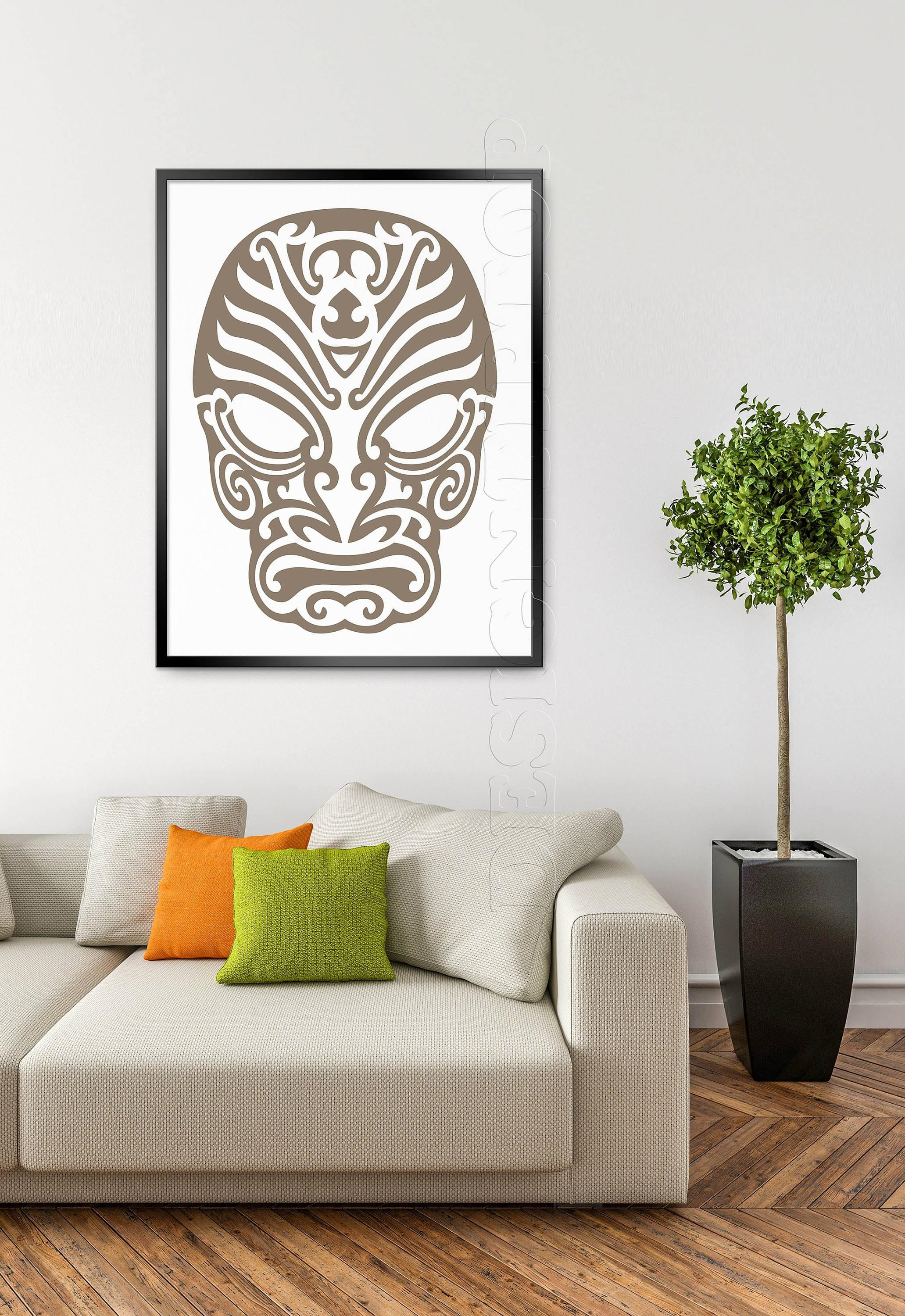 Mask Svg, Polynesian Tattoo, Tshirt Design, Cuttable Svg, Vinyl Regarding Polynesian Wall Art (Image 4 of 20)