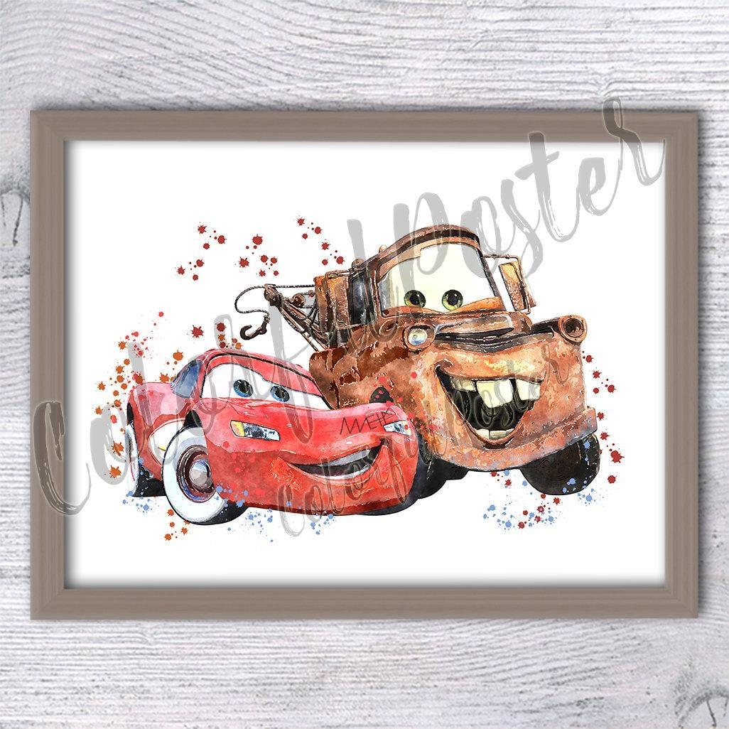 Mcqueen Matter Disney Cars Watercolor Poster Cars Art Print For Lightning Mcqueen Wall Art (Image 17 of 20)