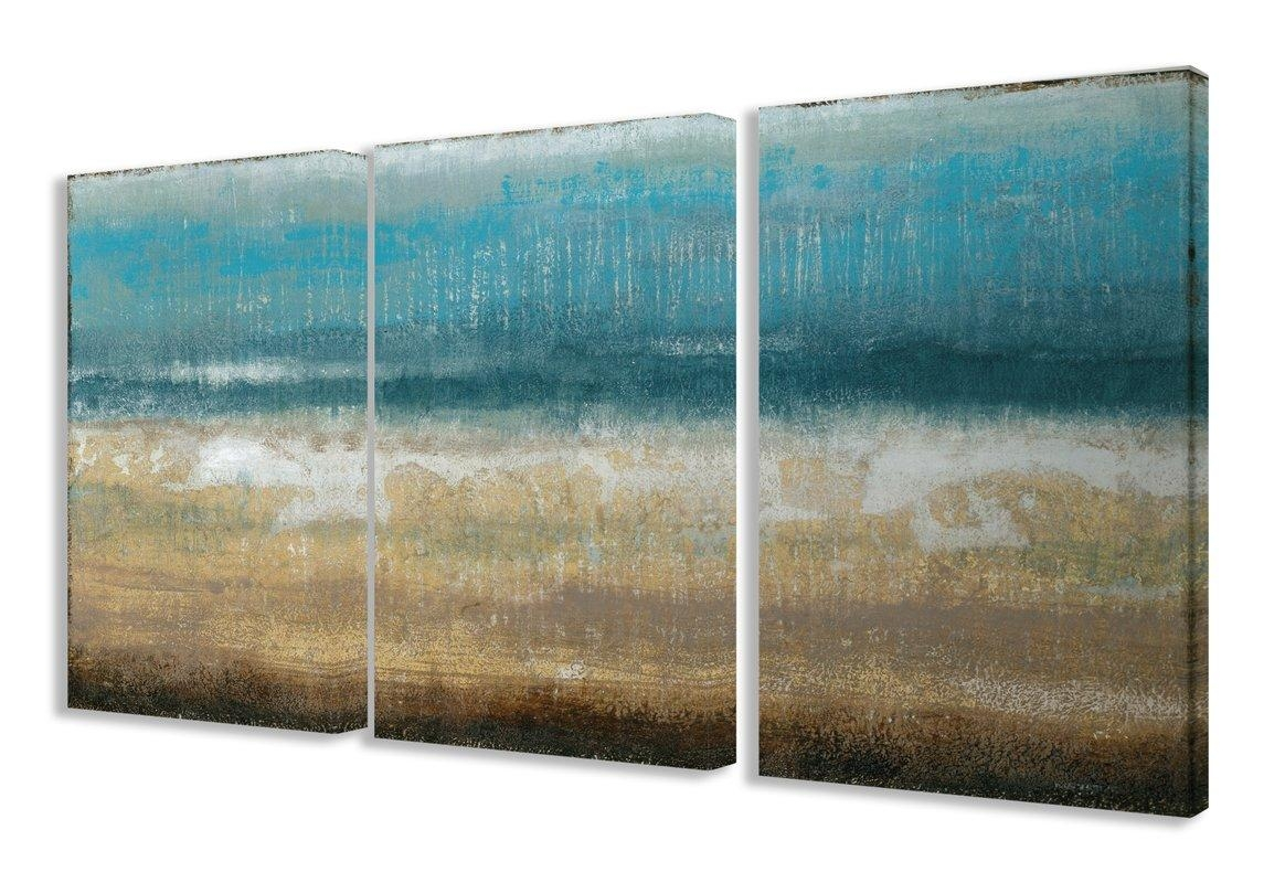 Mercury Row 'twilight Coast' 3 Piece Framed Painting Print On For 3 Piece Wall Art Sets (View 17 of 20)