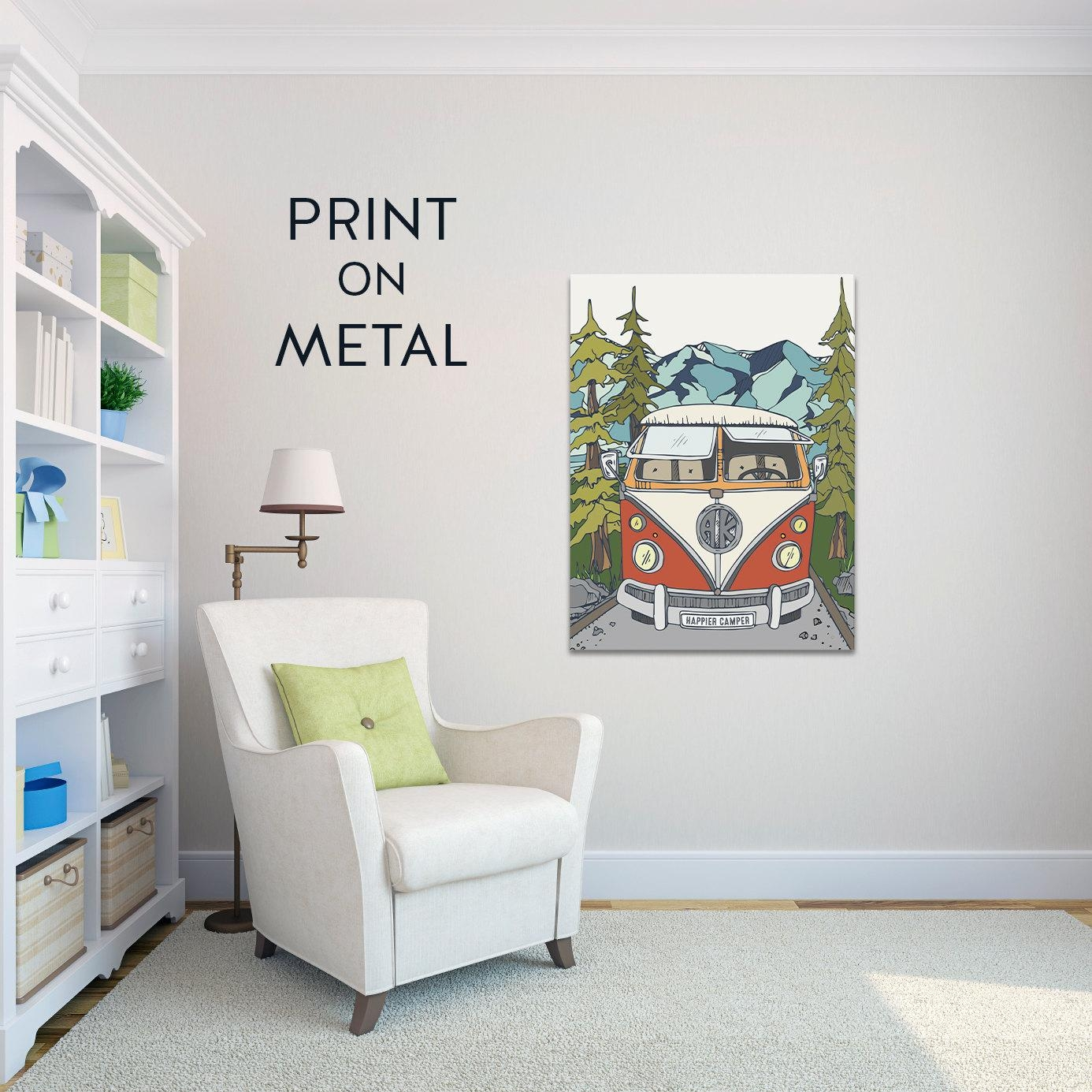 Metal Art Print Metal Wall Art Happy Camper Art Wanderlust Vw For Campervan Metal Wall Art (Image 8 of 20)