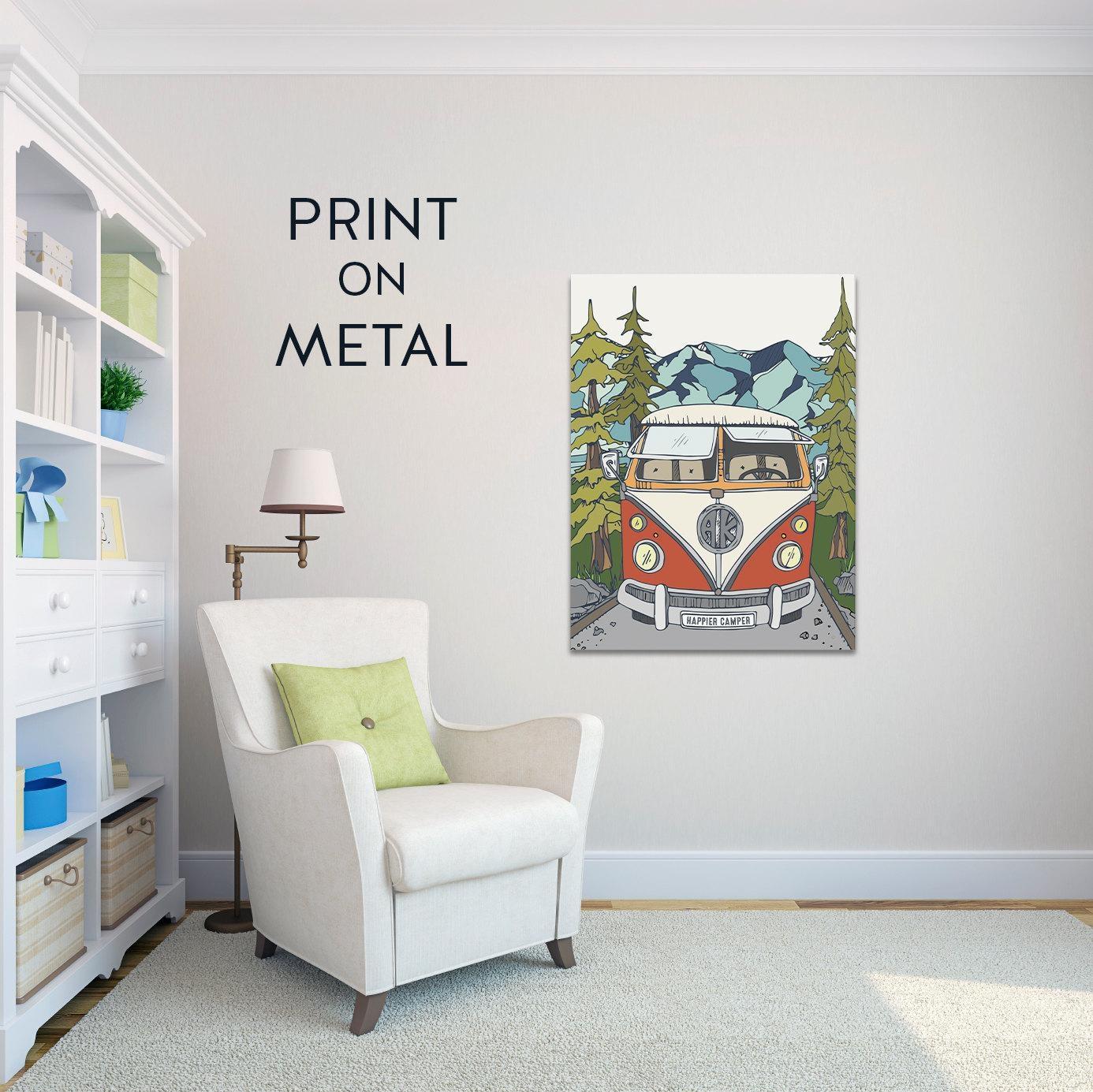 Metal Art Print Metal Wall Art Happy Camper Art Wanderlust Vw For Campervan Metal Wall Art (View 18 of 20)