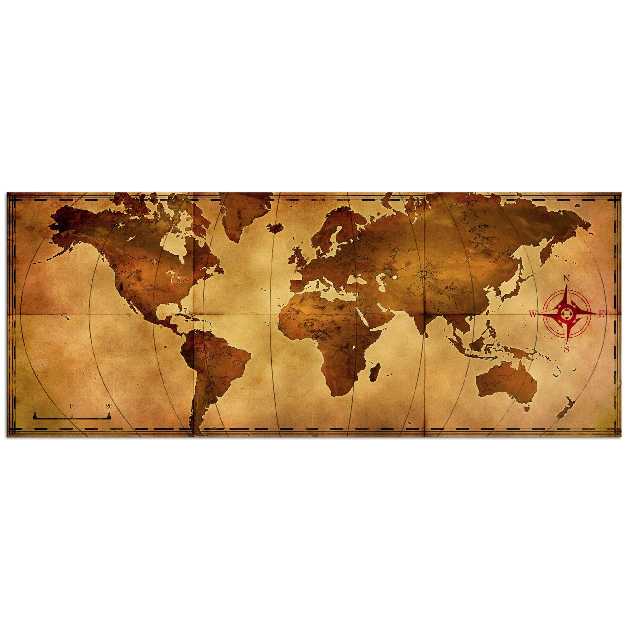 Metal Art Studio – Old World Map – Large Indoor/outdoor Modern Intended For World Wall Art (View 18 of 20)