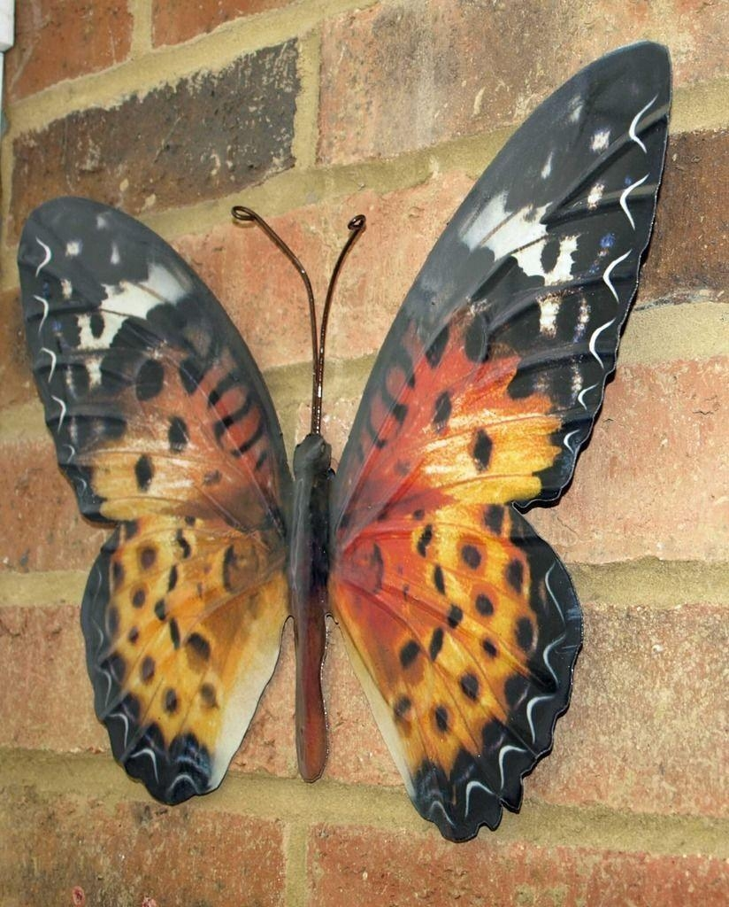 Metal Butterfly Wall Art Orange Brown 35Cm Garden Home Decoration New Regarding Large Metal Butterfly Wall Art (View 15 of 20)