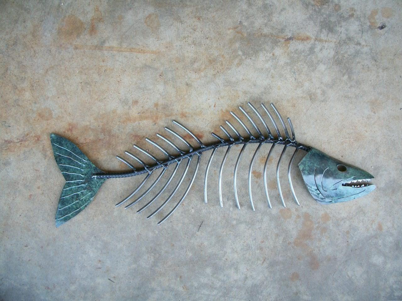 Metal Fish Art Throughout Fish Bone Wall Art (Image 18 of 20)
