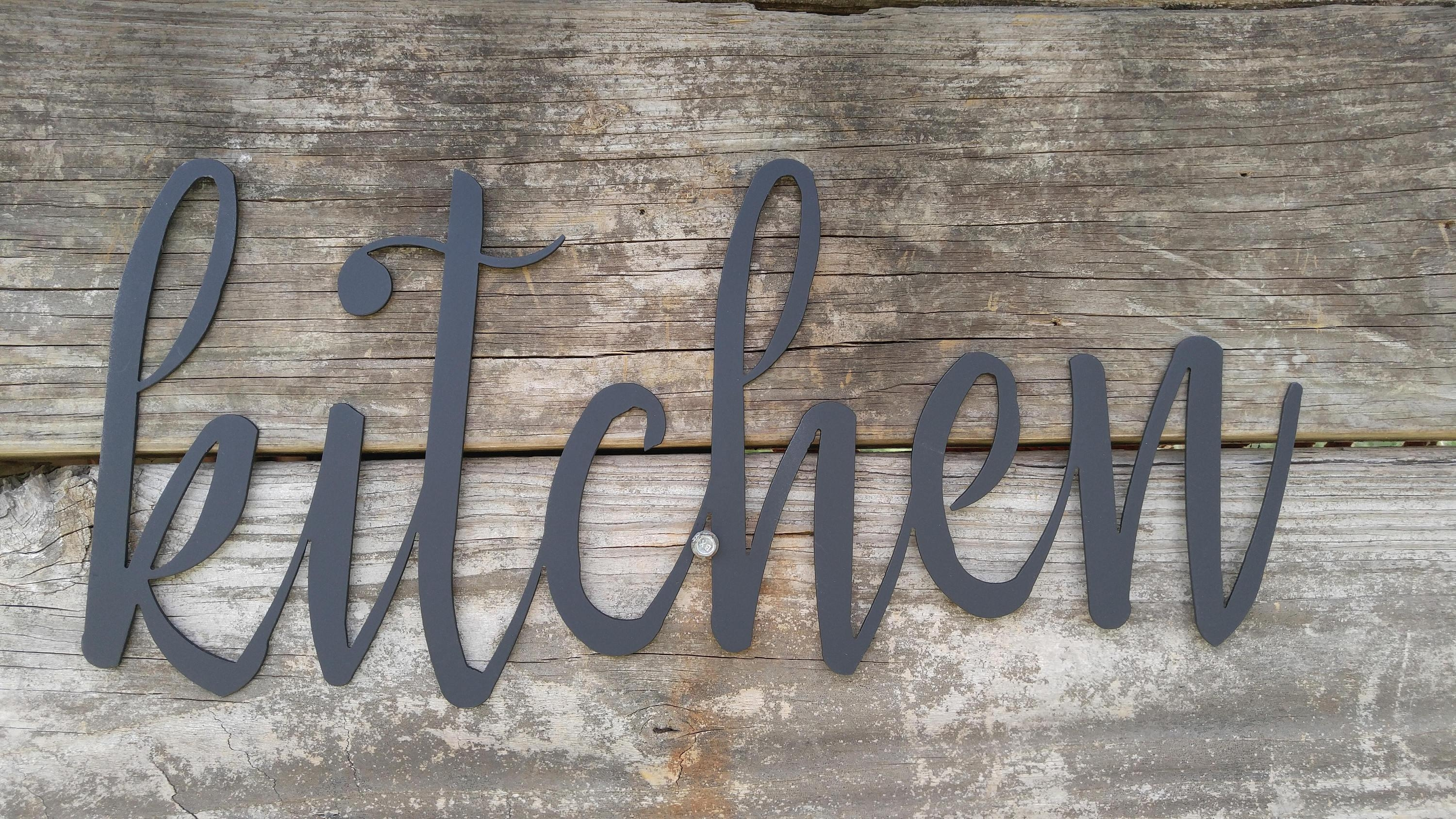Metal Kitchen Signs, Farmhouse Wall Decor, Metal Words, Rustic Throughout Metal Word Wall Art (Image 10 of 20)