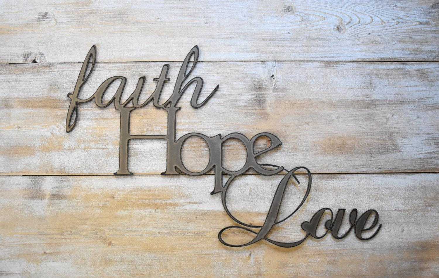 Metal Sign Faith Hope Love Word Sign Farmhouse Decor Within Metal Word Wall Art (Image 11 of 20)