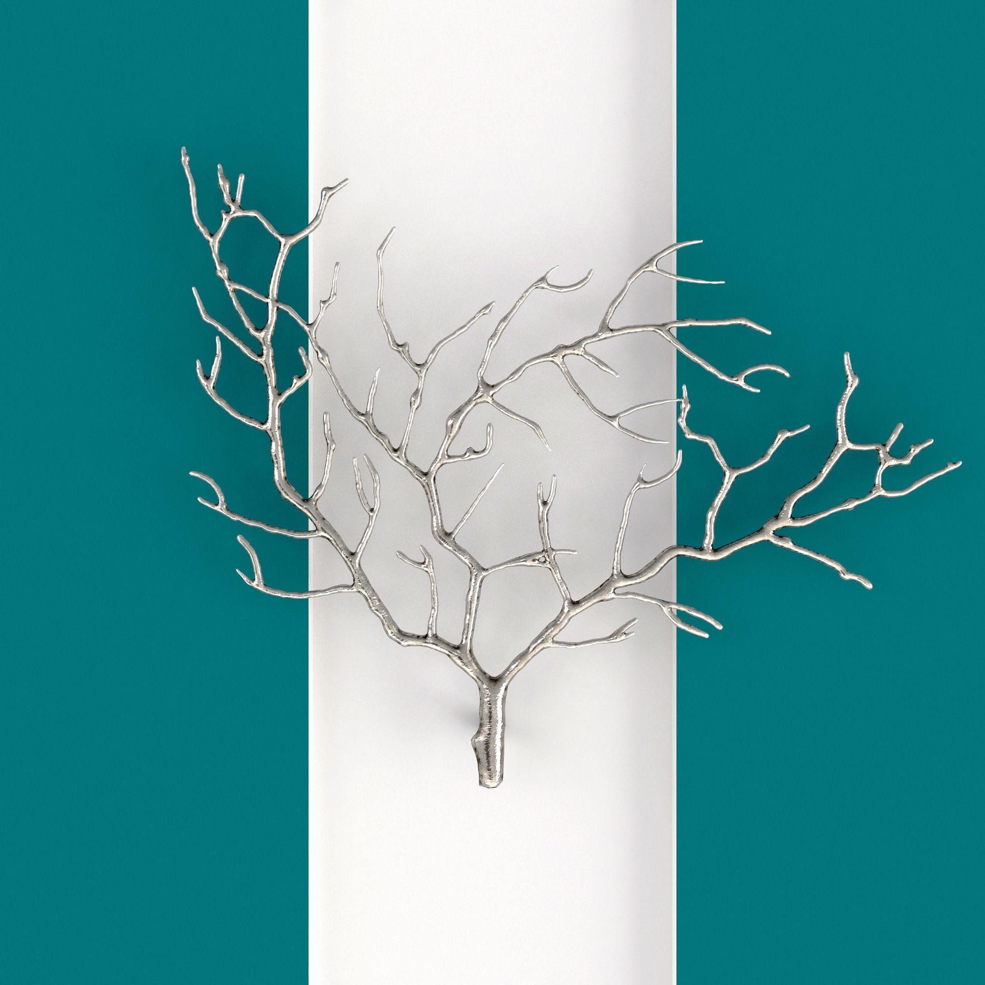 Metal Tree Branch Wall Sculpture 3D | Cgtrader Regarding 3D Tree Wall Art (View 19 of 20)