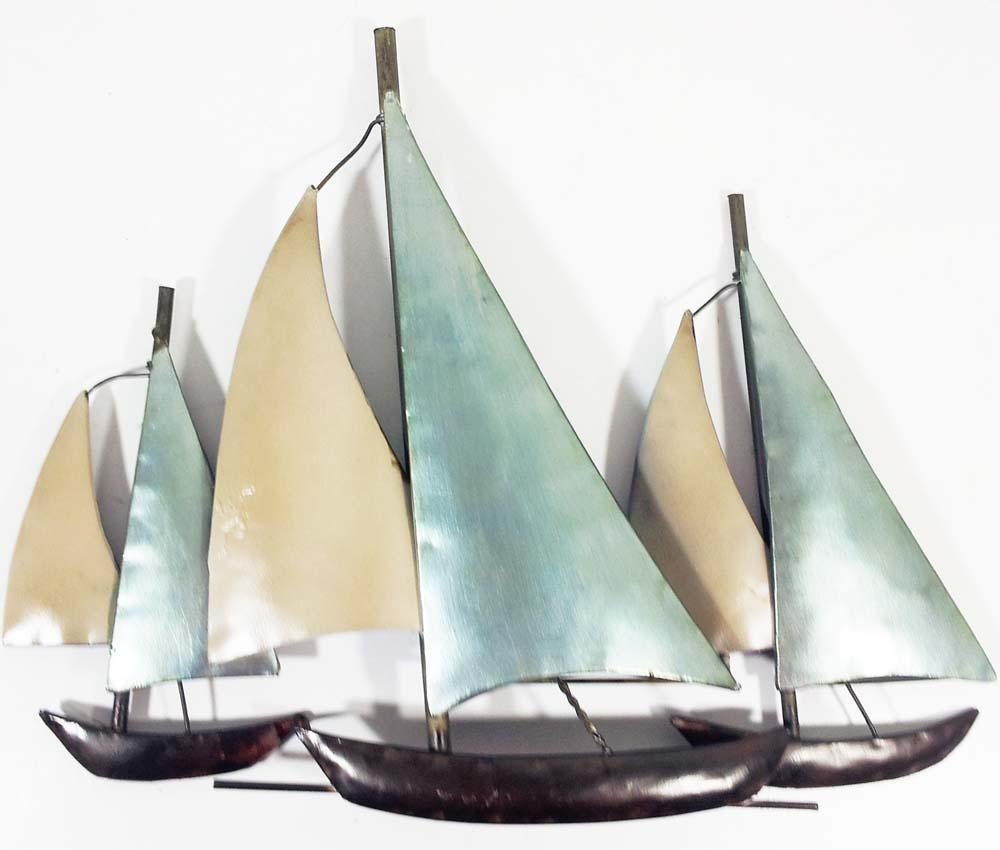 Metal Wall Art – 3 Sail Boats At Sea Regarding Sailboat Metal Wall Art (Image 9 of 20)