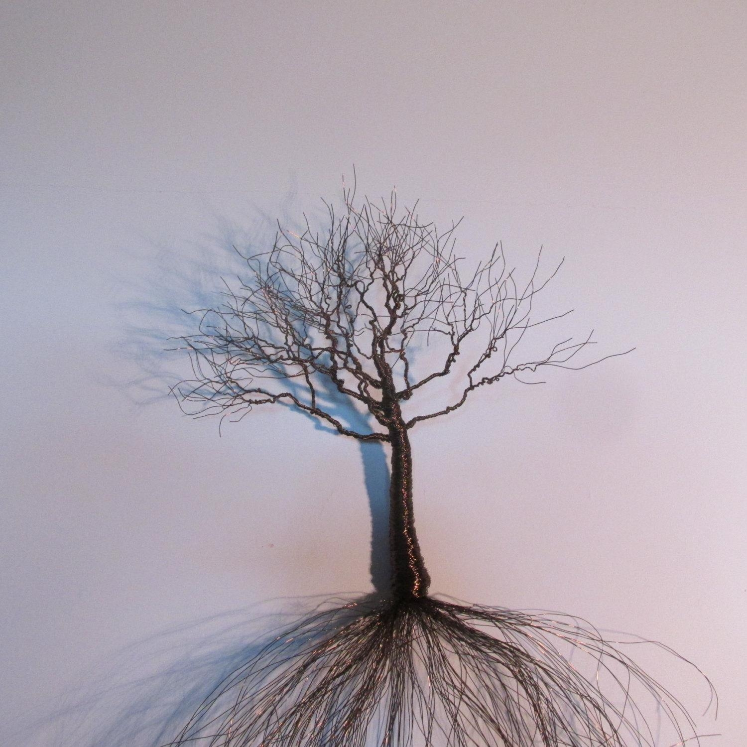 Metal Wall Art | Bronze Sculpture | Metal Wall Sculpture | Wire With Bronze Tree Wall Art (Image 8 of 20)