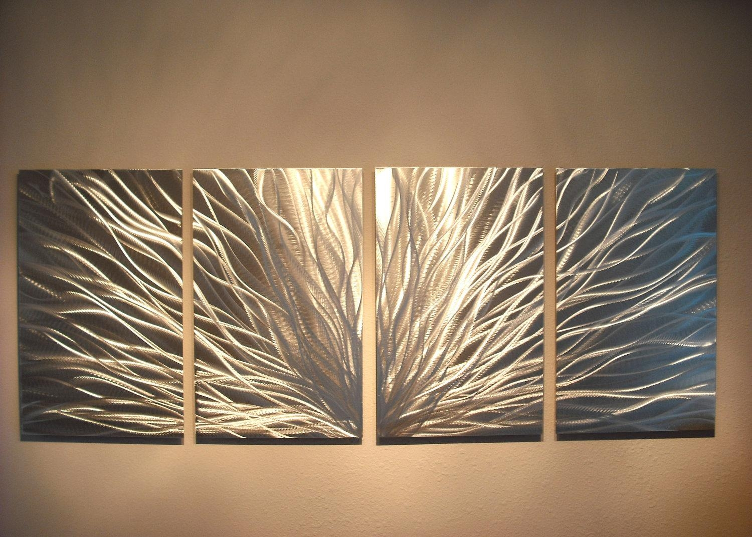 Metal Wall Art Decor Abstract Aluminum Contemporary Modern Throughout Metallic Wall Art (Image 12 of 20)