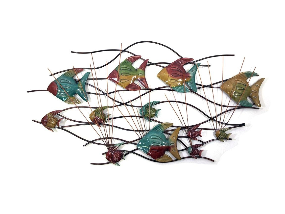 20 inspirations fish shoal metal wall art wall art ideas for Fish wall decor