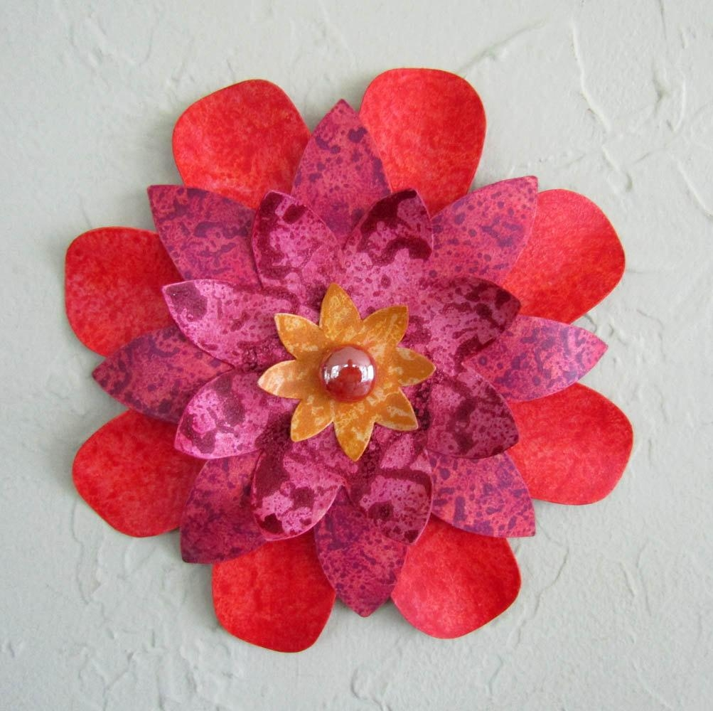Metal Wall Art Flower Sculpture Kitchen Wall Decor Bathroom With Regard To Red Flower Metal Wall Art (Image 10 of 20)