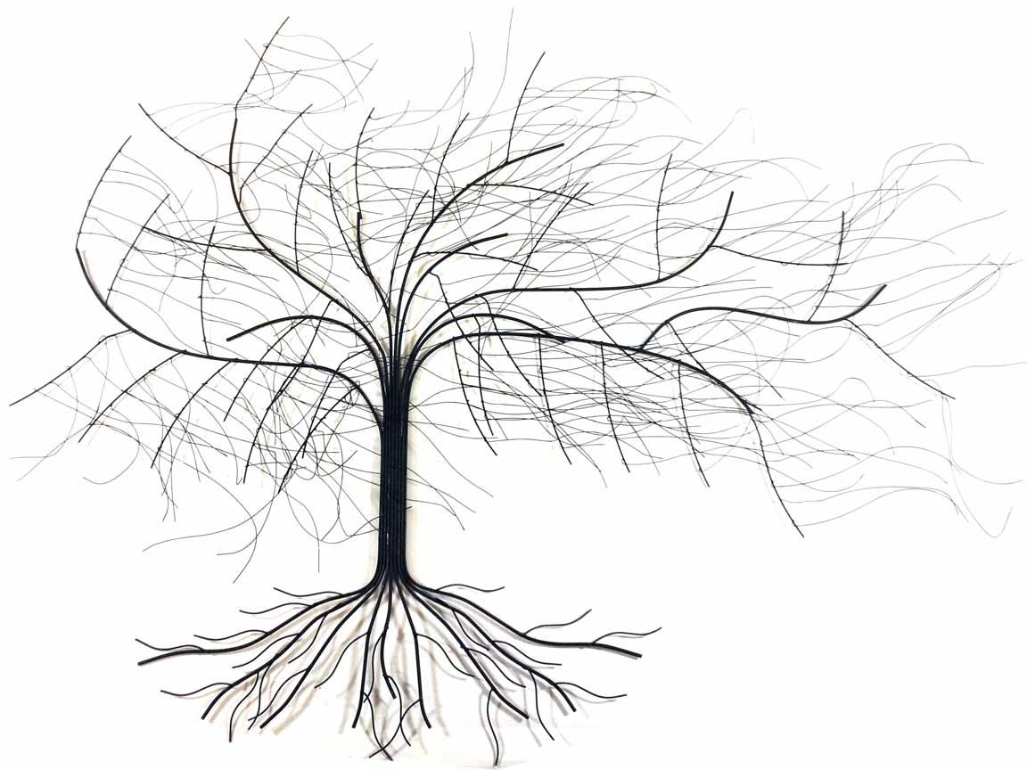 Metal Wall Art – Large Windy Oak Tree Intended For Metal Oak Tree Wall Art (Image 8 of 20)