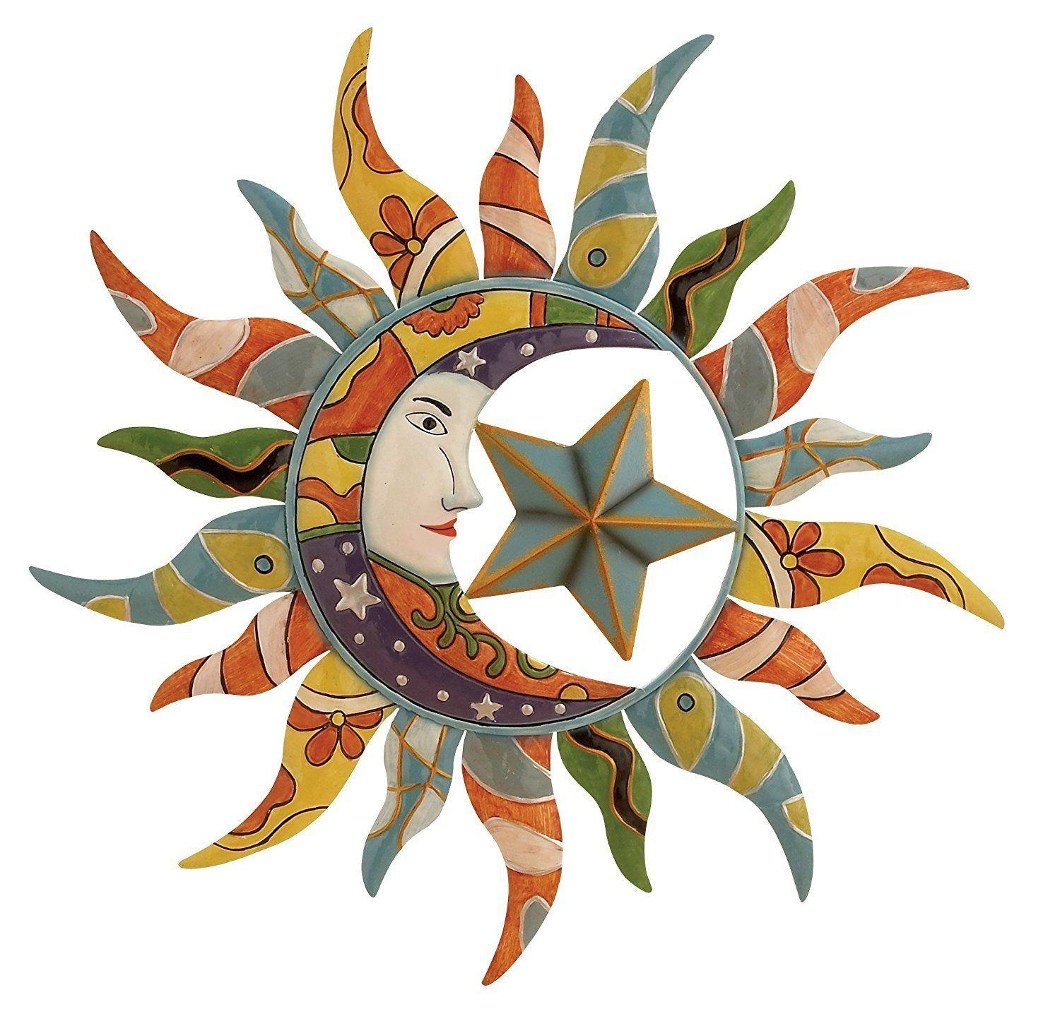Metal Wall Art Mexican Moon Star Hanging Garden Decor Home Indoor In Mexican Metal Wall Art (Image 9 of 20)