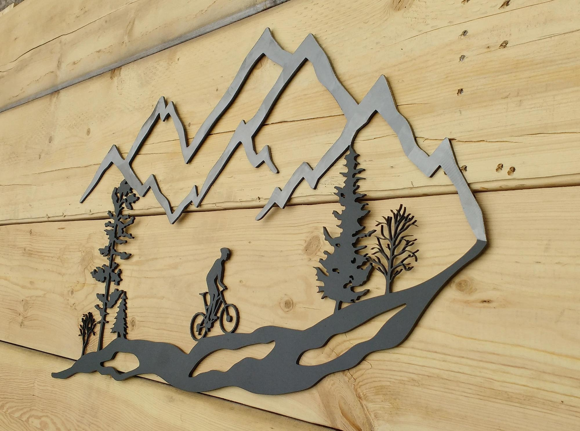 Metal Wall Art Mountain Bike Trees Mountain Bike Mtb Inside Bike Wall Art (Image 12 of 20)