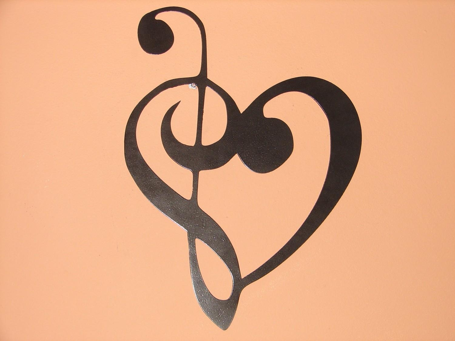 Metal Wall Art Music Heart Notes Musical Treble Clef For Metal Music Notes Wall Art (View 13 of 20)