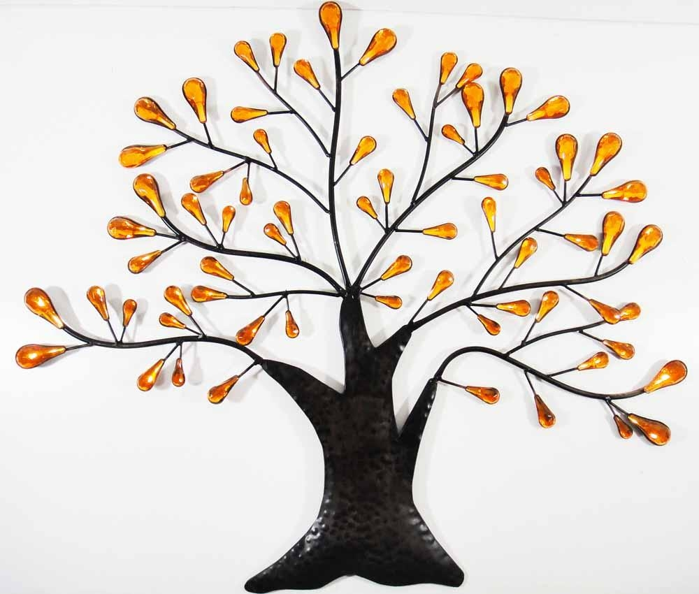 Metal Wall Art – Orange Jewel Oak Tree Within Metal Oak Tree Wall Art (Image 9 of 20)