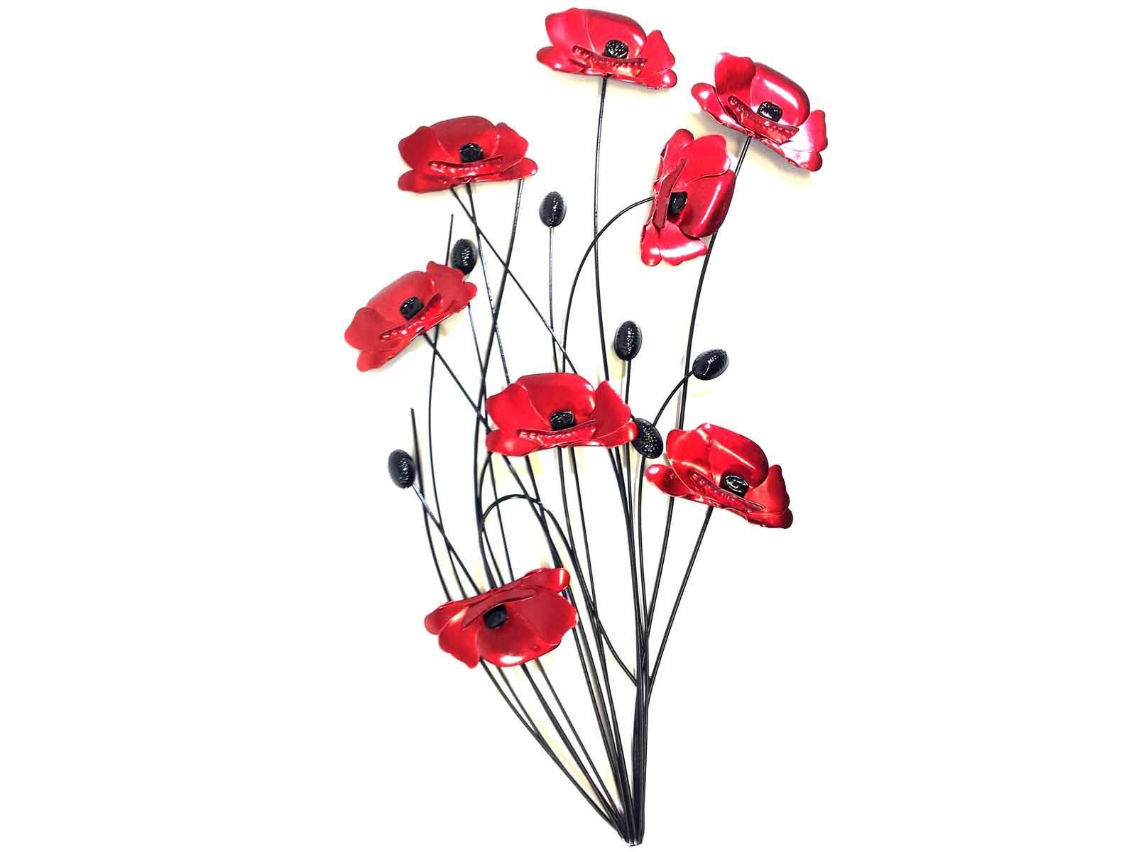 Metal Wall Art – Poppy Flower Bunch Black Stems In Metal Poppy Wall Art (View 10 of 20)