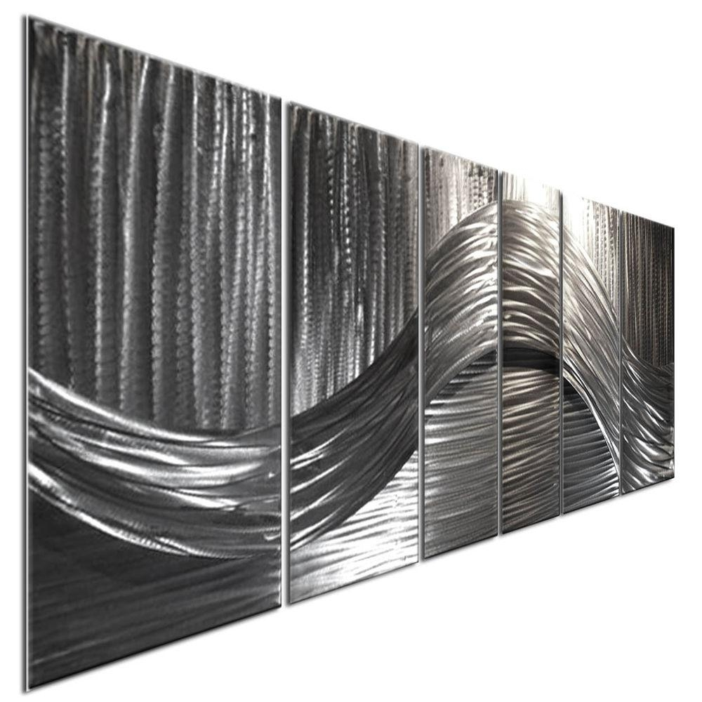 Metal Wall Art Sculpture Contemporary Silver Current 3D Modern Within Ash Carl Metal Wall Art (Image 10 of 20)