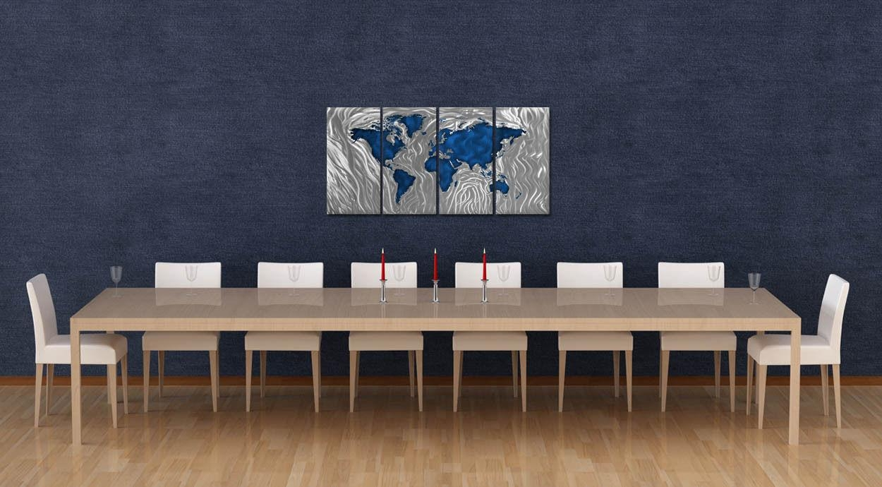 Metal Wall Art Sculpture Mapped Out Blue Ash Carl Contemporary Inside Ash Carl Metal Wall Art (Image 11 of 20)