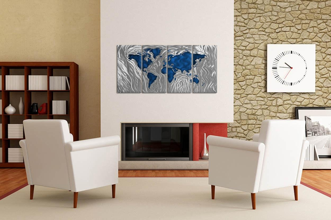 Metal Wall Art Sculpture Mapped Out Blue Ash Carl Contemporary Pertaining To Ash Carl Metal Wall Art (Image 12 of 20)
