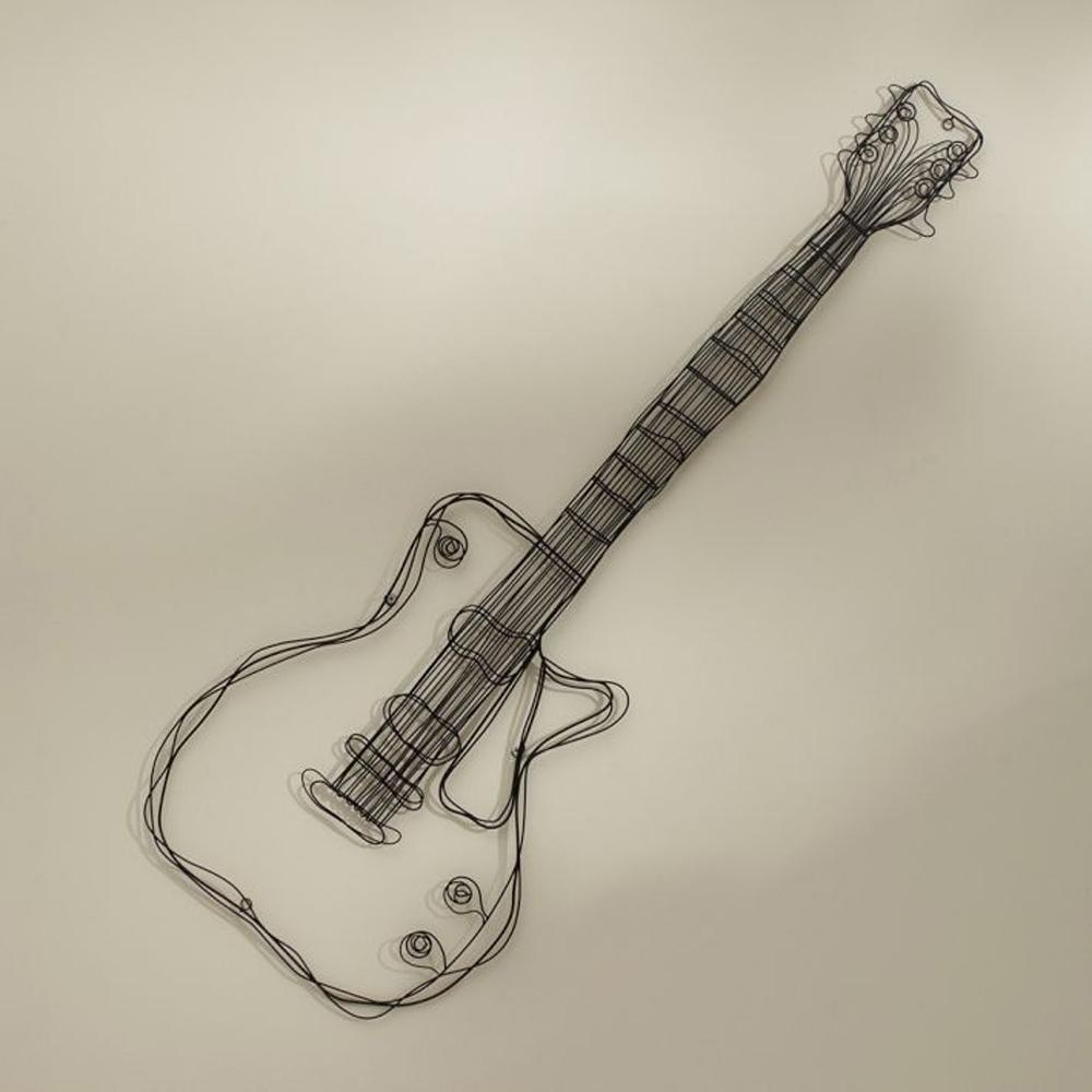 Metal Wire Guitar Wall Decor Art Music Wall Sculpture Wire Headset With  Guitar Metal Wall Art