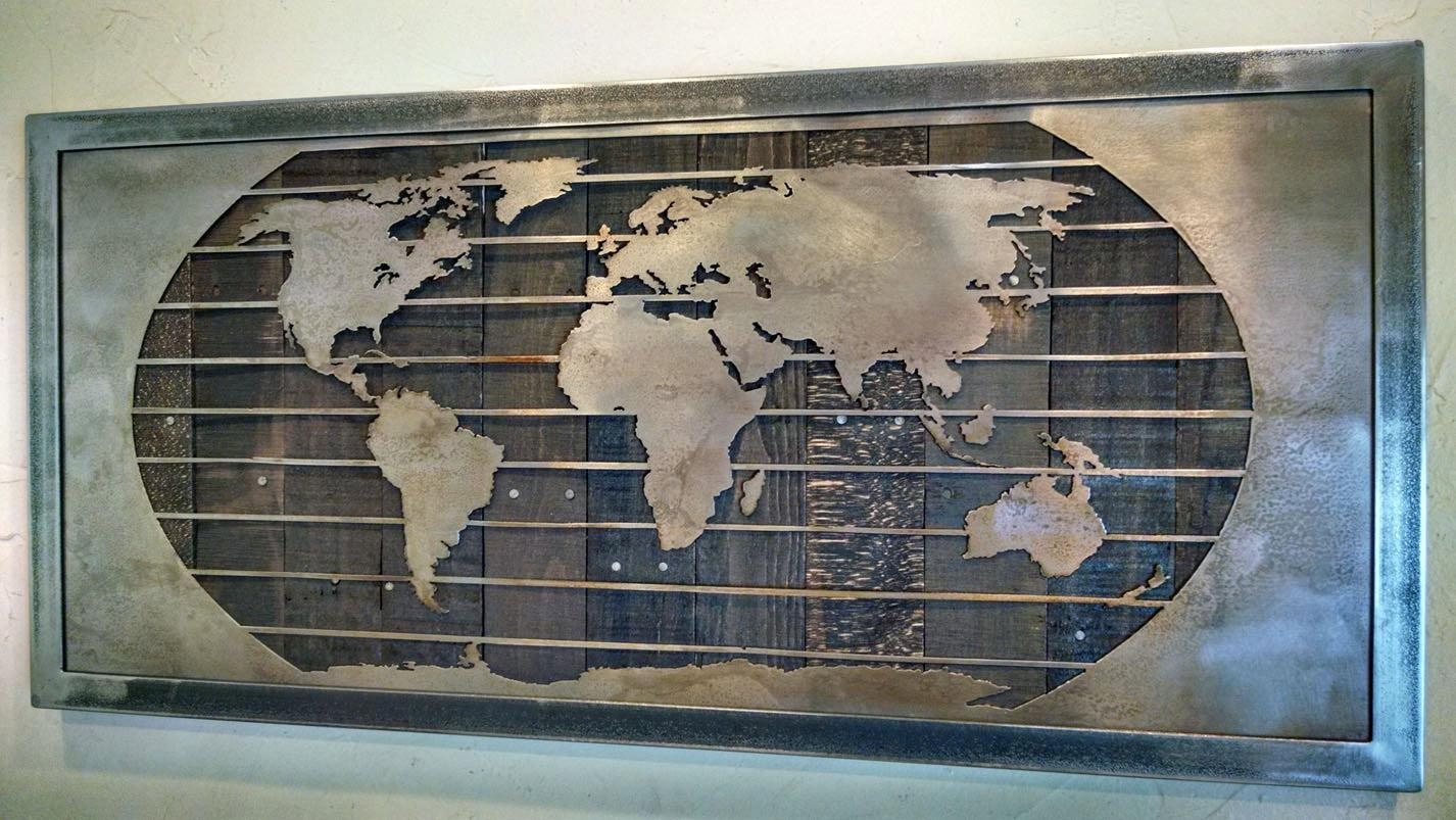 Metal World Map Wall Art Sculpture – 3 Sizes – Reclaimed Wood & Steel Throughout World Map Wood Wall Art (Image 8 of 20)