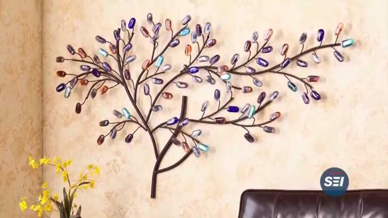 Metal/glass Tree Wall Sculpture – Youtube Within Metal Tree Wall Art Sculpture (View 20 of 20)