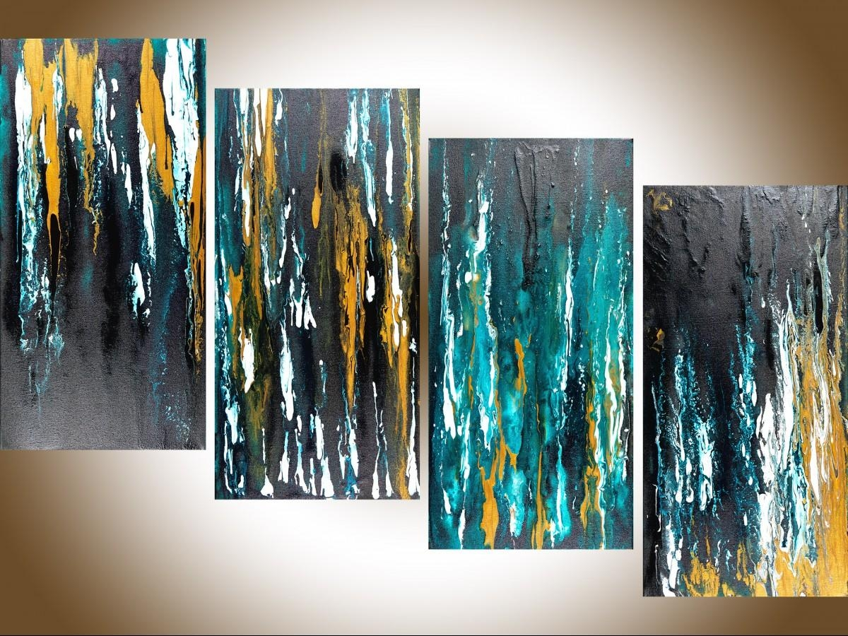 """Meteor Shower Iiqiqigallery 48""""x24"""" Original Modern Abstract Inside Large Teal Wall Art (Image 14 of 20)"""