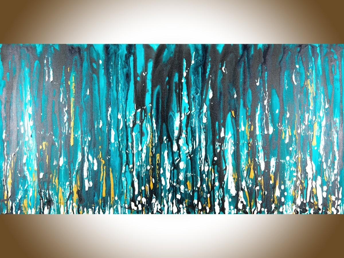 "Meteor Showerqiqigallery 48""x24"" Stretched Canvas Original In Turquoise And Black Wall Art (Image 11 of 20)"