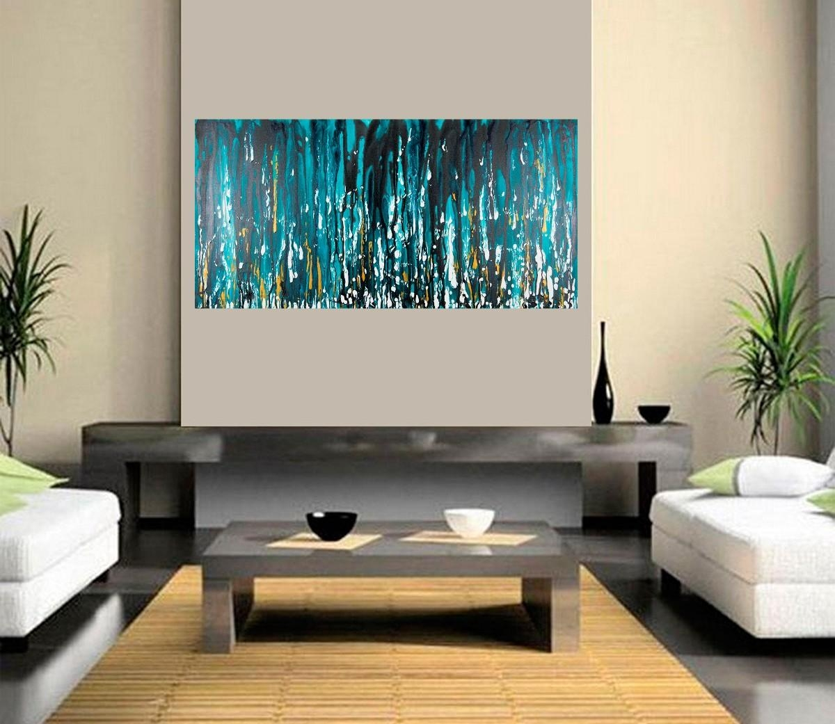 "Meteor Showerqiqigallery 48""x24"" Stretched Canvas Original Pertaining To Turquoise And Black Wall Art (Image 13 of 20)"