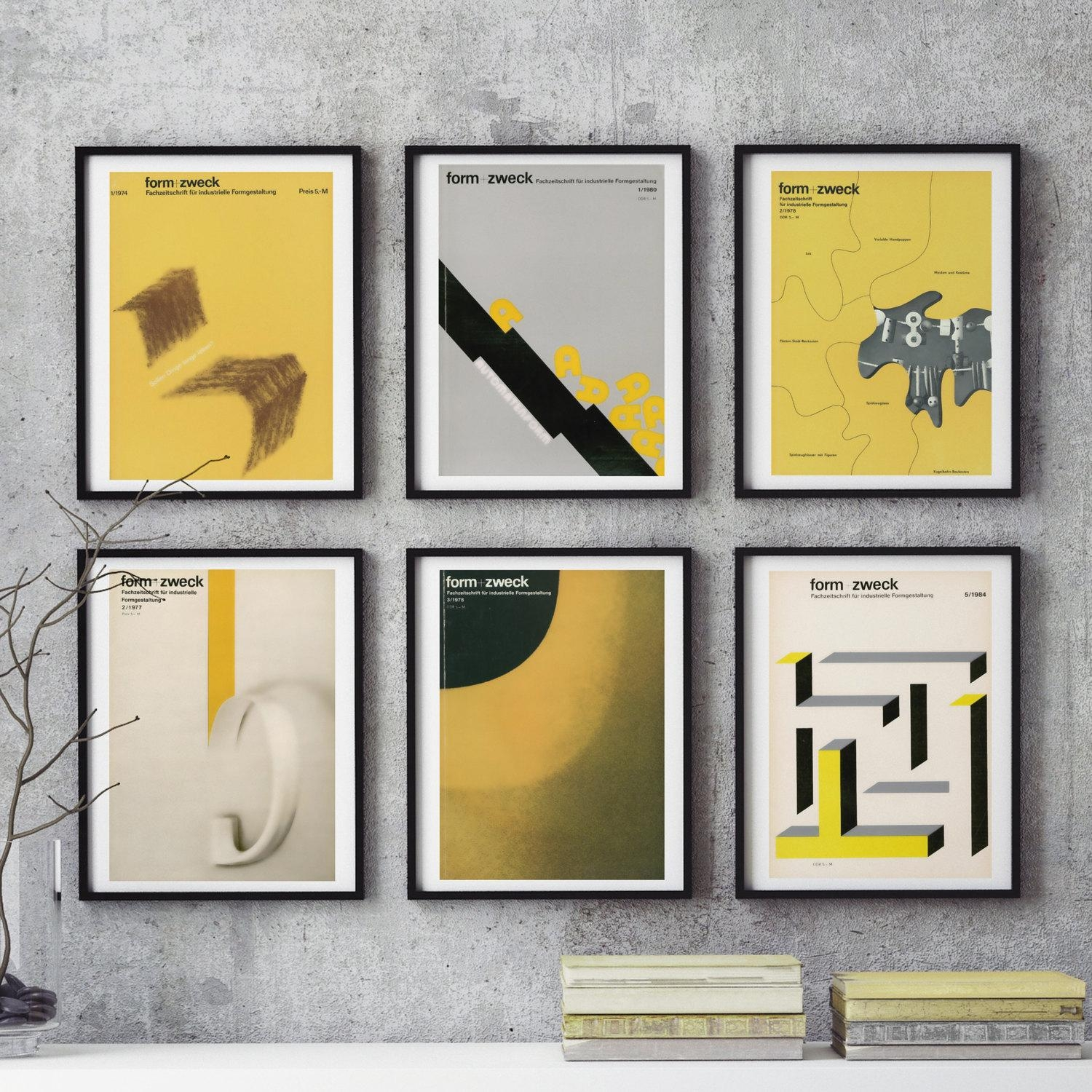 Mid Century Bauhaus Home Decor 6 Piece Wall Art East German With Graphic Design Wall Art (View 16 of 20)