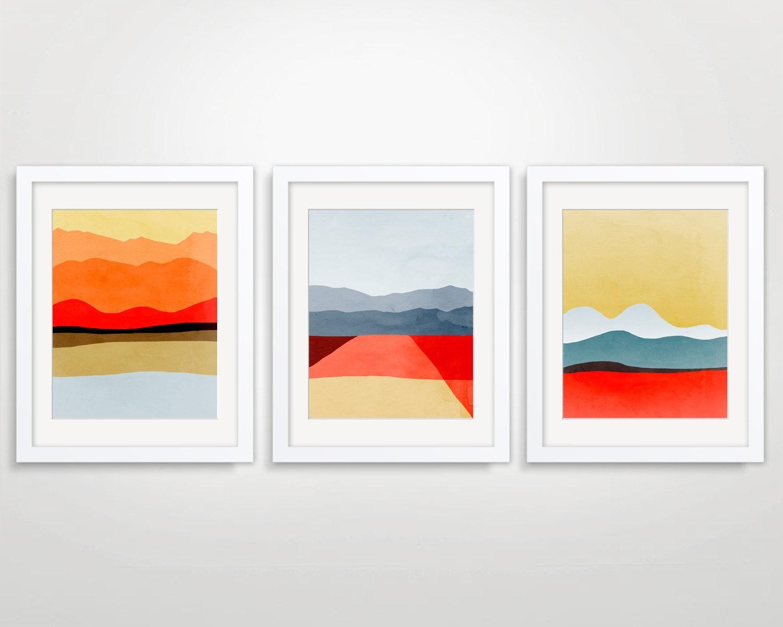 Mid Century Modern Art Abstract Art Print Modern Wall Art Pertaining To Wall Art Print Sets (View 14 of 20)