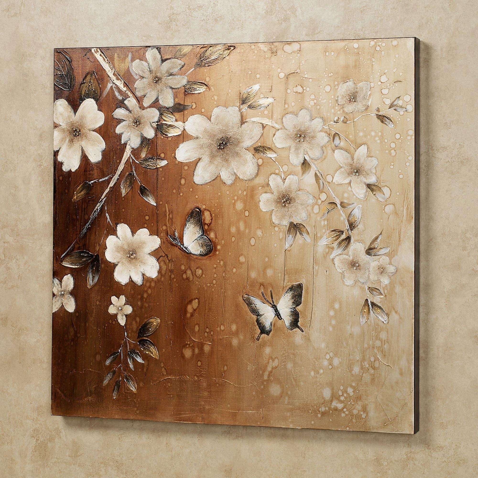 Midday Sun Butterfly Floral Canvas Wall Art Intended For Flower Wall Art Canvas (View 14 of 20)