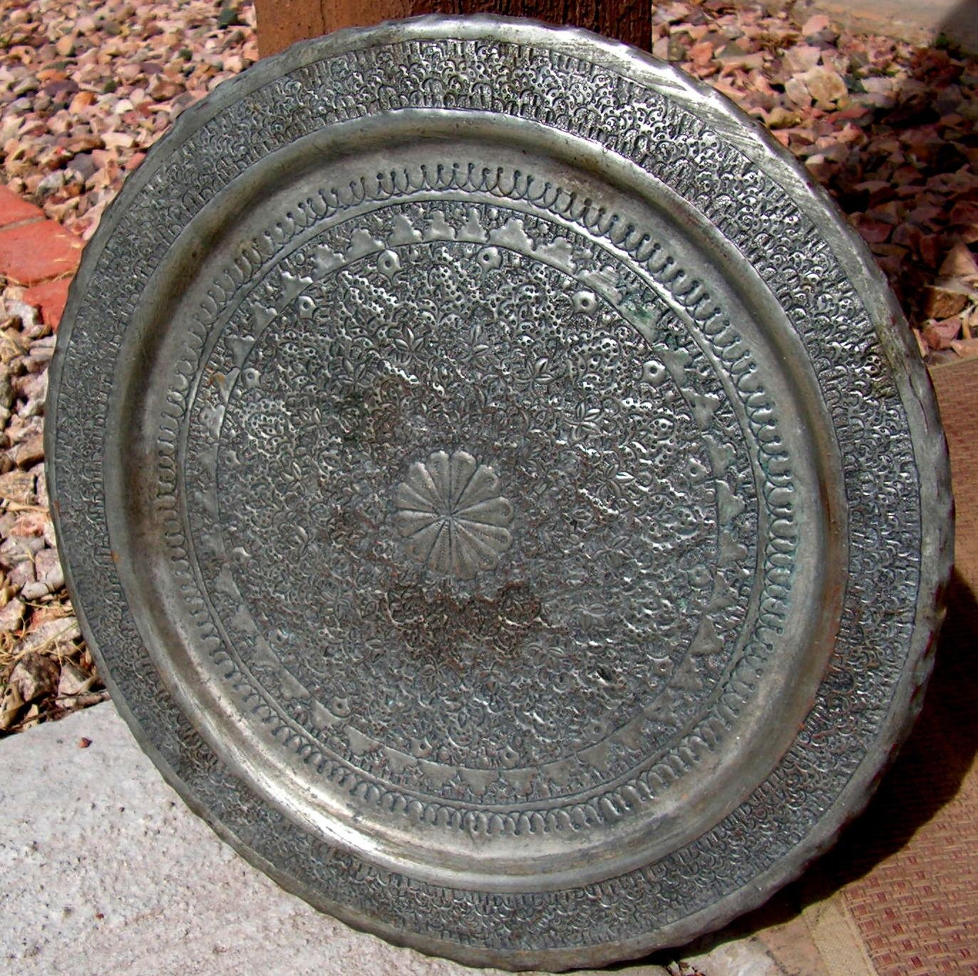 Middle Eastern Hammered Tray Plaque Persian Islamic Engraved Inside Hammered Metal Wall Art (View 5 of 20)