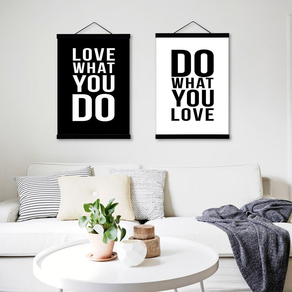 Minimalist Black White Motivational Typography Love Quotes A4 For Typography Canvas Wall Art (View 9 of 20)