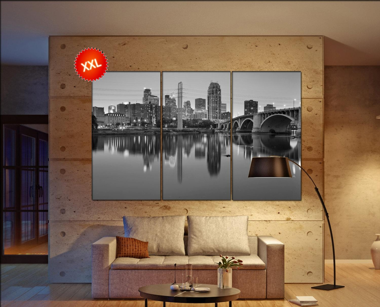 Minneapolis Canvas Art Prints Large Wall Art Black White Canvas Throughout Minneapolis Wall Art (View 15 of 20)