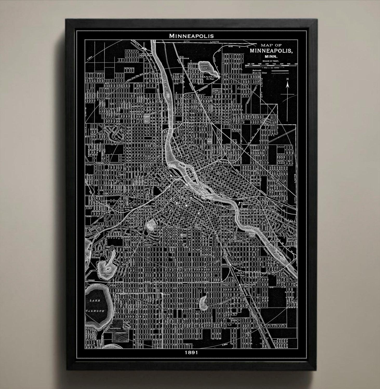 Minneapolis Map Print Black And White Minneapolis Wall Art In Minneapolis Wall Art (Image 4 of 20)