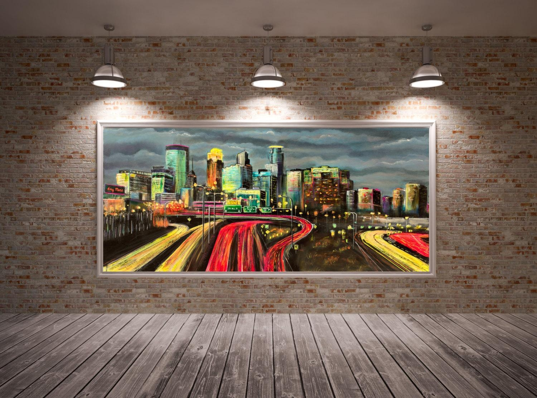 Minneapolis Skyline Art Minneapolis Skyline Wall Art With Minneapolis Wall Art (Image 9 of 20)