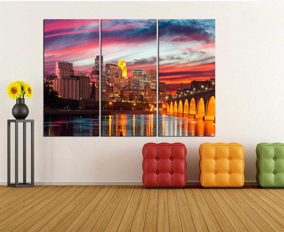 Minneapolis Skyline Canvas Print Extra Large Wall Art Print In Minneapolis Wall Art (View 5 of 20)
