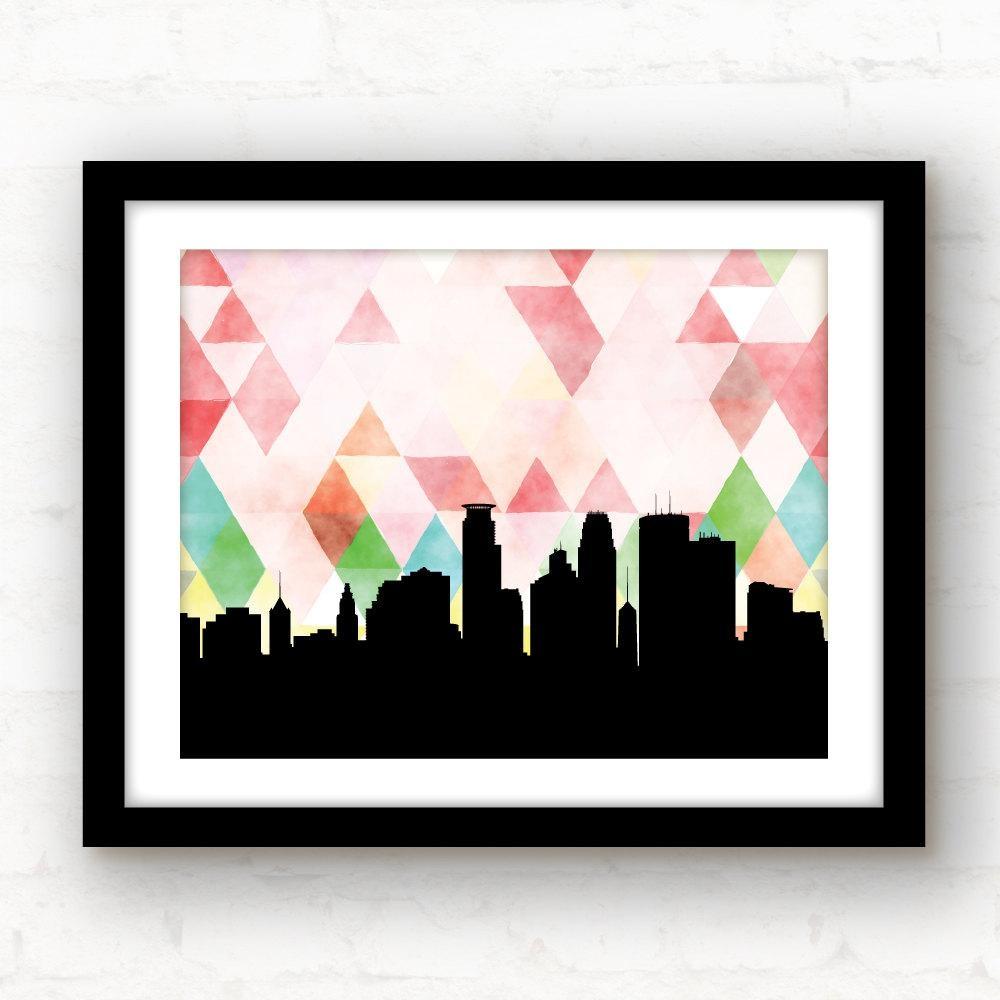 Minneapolis Skyline Minneapolis Art Print Geometric Art Regarding Minneapolis Wall Art (Image 11 of 20)