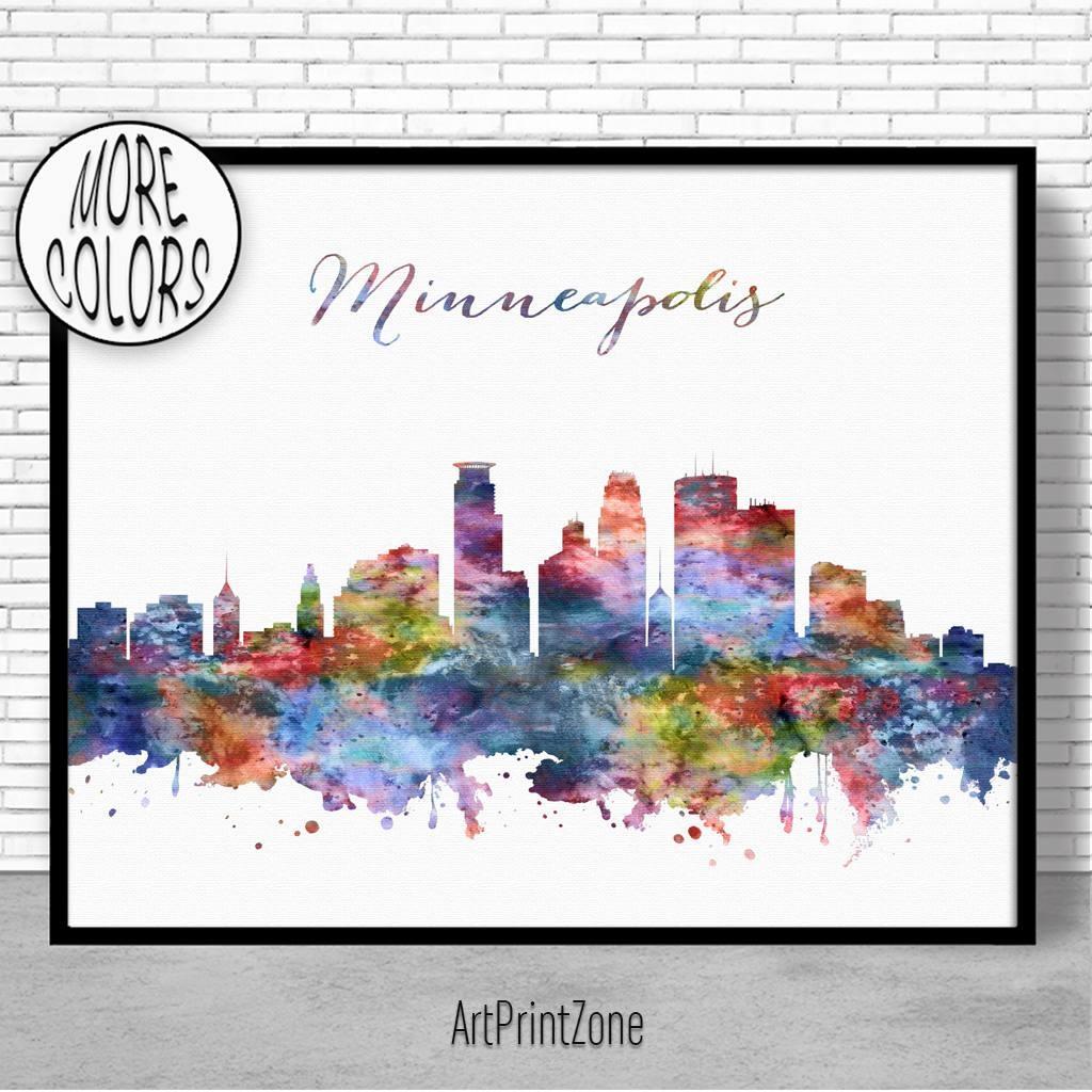 Minneapolis Skyline, Minneapolis Print, Minneapolis Minnesota Within Minneapolis Wall Art (View 9 of 20)