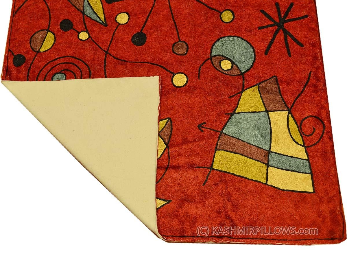 Miro Red Silk Rug Peces / Wall Tapestry Hand Embroidered  (Image 13 of 20)